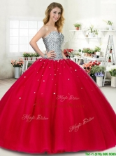 New Style Beaded Big Puffy Sweet 16 Dress in Red YYPJ044-2FOR