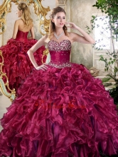 New Style Burgundy Quinceanera Gowns with Beading and Ruffles SJQDDT393002-1FOR