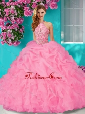 New Style Halter Top Beaded and Ruffled  Quinceanera Dress with Brush Train SJQDDT636002FOR