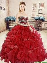 New Style Organza Red Sweet 16 Dress with Beading and Ruffles YYPJ059-2FOR