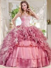 New Style Puffy Skirt Pink Sweet 16 Dress with Beading and Ruffles SJQDDT737002FOR