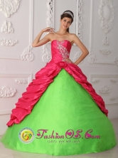 Nuevo San Juan Panama Coral Red and Spring Green Appliques and Ruch 2013 Taffeta Quinceanera Dress With Sweetheart Style QDZY387FOR