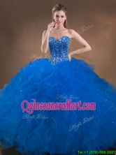 Perfect Big Puffy Beaded and Ruffled Sweet 16 Dress in Blue SWQD050MT-3FOR