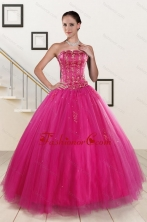 Perfect Fuchsia Quinceanera Dresses with Beading and Appliques for 2015 XFNAO140FOR