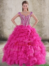 Perfect Ruffled and Beaded Bodice Straps Hot Pink Sweet 16 Dress LFY091906KFFOR