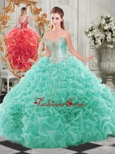 Popular Beaded and Ruffled Aqua Blue Sweet 16 Dress with Detachable Straps SJQDDT513002FOR