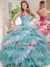Popular Beaded and Ruffled Big Puffy Sweet 16 Dress in Blue and White SJQDDT734002FOR