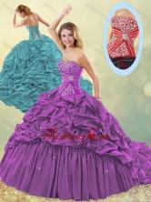 Popular Big Puffy Brush Train Taffeta Quinceanera Dress in Purple SJQDDT500002FOR