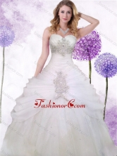Popular Tulle White Princess Quinceanera Dress with Beading and Ruching XFQD994FOR