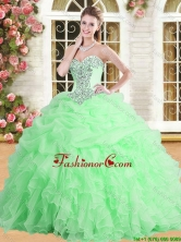 Pretty Applique and Ruffled Quinceanera Dress in Spring Green for Spring YSQD001-3FOR