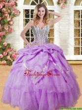 Pretty Beaded and Pick Ups Quinceanera Dress in Lilac for Spring YSQD009-3FOR