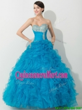 Princess Baby Blue Quinceanera Gown with Beading and Ruffles THQD006FOR