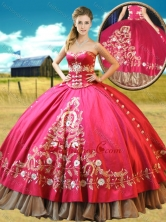 Really Puffy Taffetae Red Quinceanera Gown with Appliques and Beading XFQD1070FOR