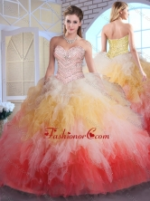Romantic Ball Gown Sweet 16 Dresses in Multi Color with Beading and Ruffles SJQDDT386002FOR