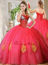 Romantic Beaded and Gold Applique Really Puffy Quinceanera Dress in Red SJQDDT727002FOR