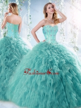 Romantic Beaded and Ruffled Aquamarine Detachable Quinceanera Dress with Brush Train SJQDDT532002FOR