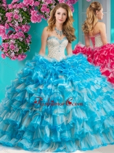 Romantic Beaded and Ruffled Layers Quinceanera Dress with Really Puffy SJQDDT655002FOR