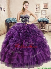 Romantic Beaded and Ruffled Organza Quinceanera Dress in Purple YYPJ036-1FOR