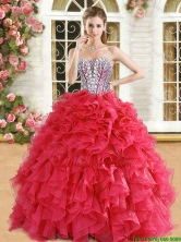 Romantic Beaded and Ruffled Organza Quinceanera Dress in Red QDDTA122002-2FOR