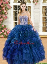 Romantic Beaded and Ruffled Sweet 16 Dress in Royal Blue YSQD013-2FOR