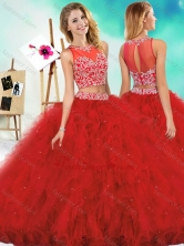 See Through Two Piece Red Quinceanera Dress with Beading and RufflesSJQDDT605002FOR