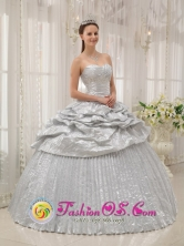 Silver For Brand New Quinceanera Dress With Appliques and Pick-ups For Spring In Florida Bocas del Toro Panama Style QDZY357FOR