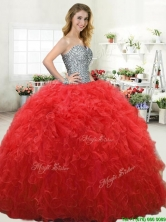 Simple Beaded Bodice and Ruffled Red Quinceanera Dress in Tulle YYPJ064-2FOR