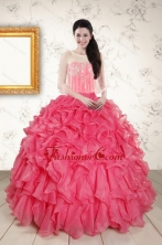 Strapless Beading and Ruffles 2015 Quinceanera Dresses in Hot Pink XFNAO055AFOR