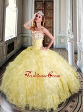Sweetheart Yellow Sweet 16 Dress with Beading and Ruffles XFQD1019FOR