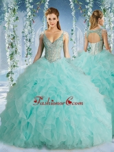 The Super Hot Beaded Decorated Cap Sleeves Quinceanera Dress with Deep V NeckSJQDDT588002FOR