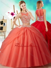 Two Piece See Through Beaded Quinceanera Dress in Orange RedSJQDDT601002FOR