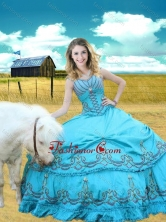 V Neck Embroidered Aqua Blue Sweet 16 Gown with Cap Sleeves XFQD1062FOR