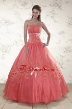 Watermelon Sweetheart Appliques Sweet 15 Dresses for 2015 XFNAO099FOR