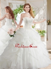 White Ball Gown Sweetheart Organza Court Train Beaded and Bubbles Quinceanera Dress SJQDDT688002FOR