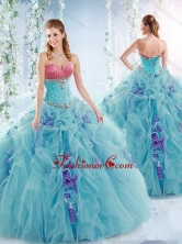 Wonderful Aqua Blue Detachable Quinceanera Dresses with Ruffles and Beading SJQDDT543002FOR