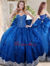 Wonderful Beaded and Applique Big Puffy Quinceanera Dress with Bowknot SJQDDT706002FOR