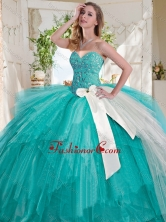 Wonderful Turquoise Big Puffy Quinceanera Dress with Beading and White Bowknot SJQDDT731002FOR
