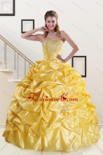 Yellow Beading Strapless 2015 Quinceanera Dresses with Sweep Train XFNAO008FOR