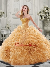 Best Really Puffy Chapel Train Quinceanera Gown with Ruffles and Colorful Beading SJQDDT514002FOR