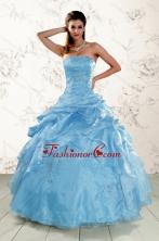 2015 Brand New Aqua Blue Quinceanera Dresses with Appliques XFNAO072AFOR