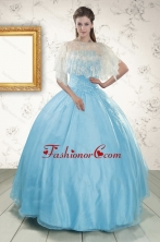 2015 Discount Blue Strapless Quinceanera Dress with Beading XFNAO046AFOR