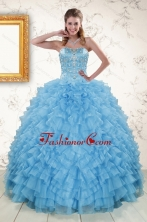 2015 Pretty Sweetheart Blue Sweet 15 Dresses with Beading XFNAODVC1037FOR
