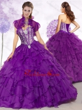 2016 Cheap Ball Gown Purple Quinceanera Gowns with Beading and Ruffles SJQDDT452002FOR