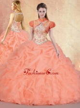 2016 Customized Brush Train Sweet 16 Gowns with Ruffles and Pick Ups  SJQDDT429002FOR
