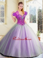 2016 Discount Floor Length Lavender Sweet 16 Dresses with Beading SJQDDT384002FOR