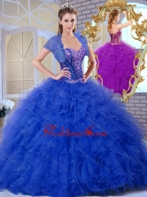 2016 Discount Sweetheart Blue Quinceanera Dresses with Ruffles and Appliques  SJQDDT375002FOR