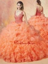 2016 Latest V Neck Beading and Ruffles Sweet 16 Dresses with Brush Train SJQDDT414002FOR