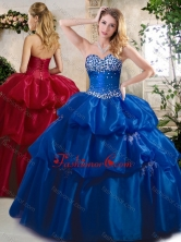 2016 Lovely Ball Gown Sweet 16 Dresses with Beading and Pick Ups SJQDDT397002FOR