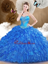 2016 Luxurious Ball Gown Quinceanera Dresses with  Beading and Ruffles SJQDDT473002FOR