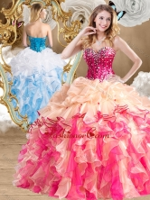 2016 New Style Multi Color Quinceanera Gowns with Beading and Ruffles SJQDDT487002-2FOR